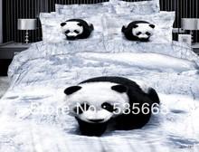Grátis frete 100% algodão 4 PCS fox panda leopardo impressão quilt cover define homens cama queen size 3D animais jogos de(China (Mainland))