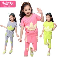 New Fashion 2014 Summer Children's Clothing Sets Teenage Girls Clothing Summer Girl's Short T-shirt+Cotton Pants twinset