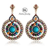 2014 high-quality fashion jewelry retro earrings alloy resin Bohemian girl big earrings zircon crystal pendant TE-807