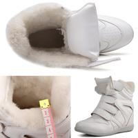Winter Warm Fur Isabel Marant Wedge Sneakers,Genuine Leather 15 Styles,Heel 6cm,Women's Boots,Size 35~42,No Logo,Women's Shoes