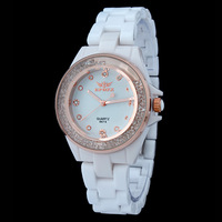 2014 New arrival men clock male ceramic crystal watch couple wristwatches 8674-M