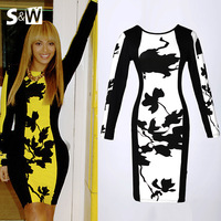 2014 New Spring Floral Print Bodycon Long Sleeve Yellow & White Strech Evening Club Midi Celebrity Women Summer Party Dresses