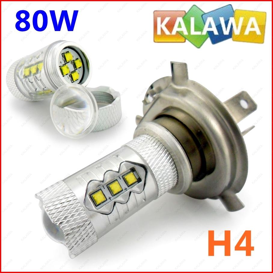 1 set 80W H4 6000k white +Resistor LED Decoder led lamp EPISTAR chipset car Headlamp / fog lamp longspan FFF FREESHIPPING(China (Mainland))