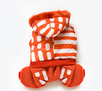Orange stripes---High Quality Fashion Dog Pet Clothes Dog Snowsuit Jumpsuit Warm Winter Hoodies