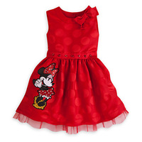 2014 New Arrival summer Child Girl Dress O-neck Bow Shoulder Minnie mickey Decor Girl Dress Princess Dress kids lovely dress