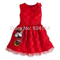 2014 New Arrival summer Child Girl Dress O-neck Bow Shoulder Minnie mickey Decor Girl Dress Princess Dress kids lovely dress
