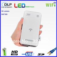 Hot Sale 50 Lumens DLP Mini Wireless Wifi Projector for Smart Phone Mobile phone Talet PC