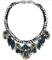 Wholesale 2013 blue Luxury shourouk necklace Beautiful Choker Crystal bib chunky flower Chain Fashion Necklaces pendant women