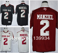 Fast free shiping New #2 Johnny Manziel Techfit Black Red White A&M Aggies College Football Jerseys 2013 cheap