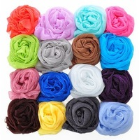 Min. order is $10(mix order) 10 autumn and winter candy color long silk scarf high quality girls cape pleated scarf b387