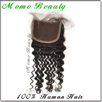 "Cheapest High Quality Jet Black#1 Indian Virgin Hair Lace Part Closure 4""x4"" Bleached Knots Deep Wave Curly 100% Human Hair"