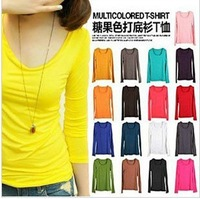 Autumn new arrival 2013 milk silk long-sleeve T-shirt all-match loose brief basic o-neck shirt female