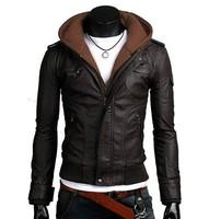 2015 winter jacket men leather jackets Slim Jaqueta Motorcycle Leather chaquetas de cuero Collar Zipper Removable Hooded