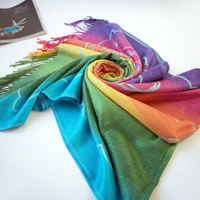 Free shipping!high quality hot Rainbow colored designer scarf for women 2013 tassel scarves fashion style elegant shawl A1031