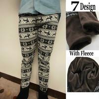Plus Size  Women's Aztec Nordic Deer Snowflake Knitt Leggings Winter Thick Warm Tight Pant     Sz:XXL   7 Patterns