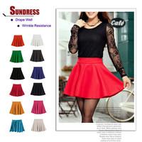 New Skater Stretch Waist Plain Flippy Flared Pleated Jersey Short Skirt Sundress