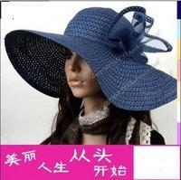 Anti-uv big along the cap women fashion  summer hat beach cap big strawhat  sunbonnet  free  shipping