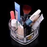 New Acrylic Heart Design Cosmetic Storage Organizer Makeup Display Rack Box Free Shipping