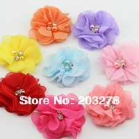 "2013 NEW 2"" DIY Chiffon Flowers Two Pearl Two Rhinestone Flower,Beaded Flower wholesale"