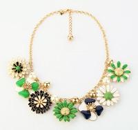 2015 Green Rhinestone Bib Statement Necklace Chain Flower Pearl Chunky Enamel Floral