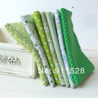 FREE SHIPPING 7pcs 50x50cm/piece green series cotton fabric Patchwork Fabric Square,Fat Quater Bundle Quilting N20131028