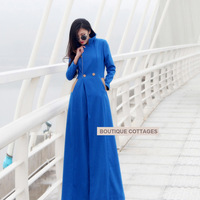 2013 New Autumn and Winter Women Long Slim Coat Ladies Fashion Temperament Floor Length Blue Plus Size Outerwear Blends  S-XXL