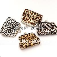 Free shipping!Wholesale: leopard grain animal grain, zero wallet, coin purses, wallet metal buckles, mini purse, small bags