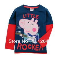 Free Shipping New 2015 Peppa Pig Clothes Long Sleeves T shirt 100%Cotton Fashion Children T-shirts Kids T shirt 2-6Year