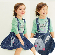 fyb11 new 2014 denim girl dress 3-8 age brand long sleeve girls clothes 5pcs/ lot free shipping