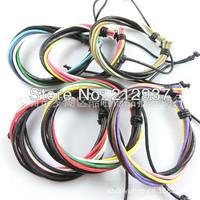 Great Price Promotion Mix order Genuine Leather And Hemp Wrist Bracelets Adjustable For Men Wholesale  KL0014
