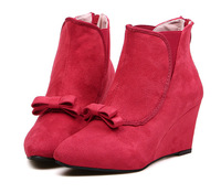 new 2013 jeffrey campbell high boots suede leather women Wedges pointed toe boots bow boots vintage sweet pointed toe red boots
