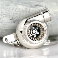 M86097-2 Polished Silvery Car Parts Model Sleeve Spinning Turbo Keychain Key Chain Ring Keyfob Keyring