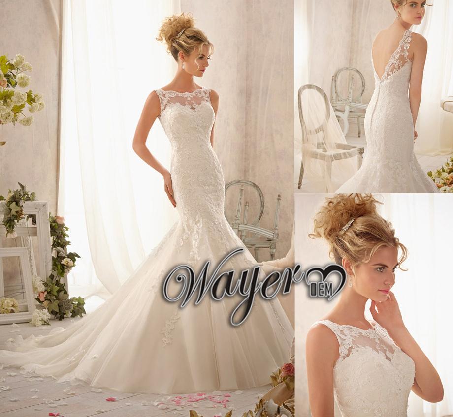 caldo elegante collo alto parte bassa della schiena in pizzo appliqued organza di seta sirena abiti da sposa di pizzo vestido de noiva Casamento noivas 2014