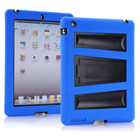 New Fashion Design Luxury Silicon+Plastic Drop Proof Hard Case Cover For ipad 2 3 4 With Big Plastic Stent