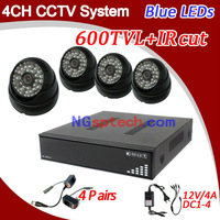 Free shipping!Home security CCTV cmos 600TVL 4ch CCTV System Kit with IR indoor Cameras, 4ch Full D1 DVR, Security Camera System