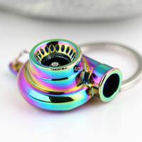 5 x Auto Parts Model Creative Spinning New Charming Rainbow Color Turbo Turbocharger Keychain Key Chain Ring Keyring Keyfob