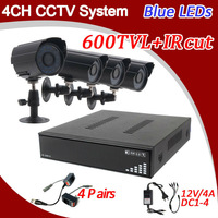 2013 Home CCTV Security Camera DVR Kit 4ch Full D1 DVR Recorder 600tvl Outdoor Waterproof IR Camera CCTV System Free Shipping