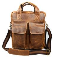 Vintage Genuine Full Grain Leather Cowhide Crazy Horse Leather Men Business Handbag Shoulder Messenger Bag Bags For Men J0734