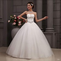 Free Shipping 2014 Suzhou Huqiu Outlet Low Price Tube Top Bandaged Beads Crystal Decoration Wedding Dress