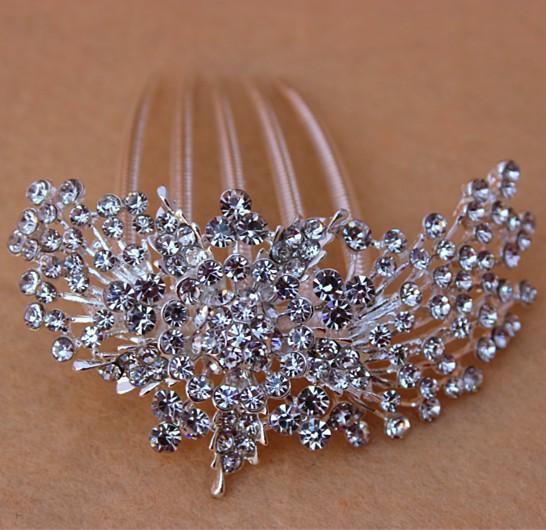 Wholesale Wedding Bride Crystal Hair Comb Bridal Accessories Wedding Jewelry Rhinestone Tuck Comb Free Shipping J15(China (Mainland))