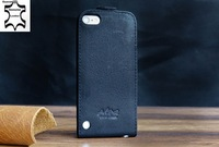 Black Akira Hand Made Leather Flip Top Case Cover for Apple iPod Touch 5th Gen for itouch 5 leather case