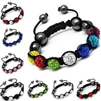 Shamballa Bracelet Wholesale Stylish Crystal Ball With Rhinestone Studded Beads