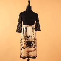 New 2014 Runway Fashion Europen Vintage Lace Crochet Patchwork & Print Faux 2 Piece Knee-length Dress