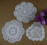 handmade Crochet doilies cotton cup mat Pad White, vintage crochet table cloth Pink,Ecru Black 16-20CM 30pcs/LOT