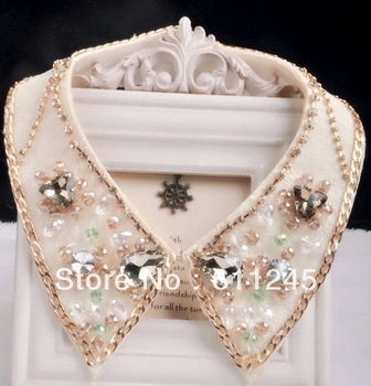 Min.order is usd15(mix order) Trendy High Quality Handmade Colorful Glass Beads Gold Chain Fake Collar Necklace