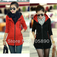 2013 Long Slim Hoodies Zip Sweatshirts Mixed Colors Women Cardigan Winter Sweatshirts Outerwear 2 Colors 1 Size