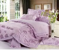Jacquard silk/cotton bedding set queen king size 4pcs luxury satin bed linen comforter/duvet cover bedclothes set home textile
