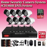 8CH Channel CCTV HDMI 1TB DVR Home Night Views Security Camera System kit