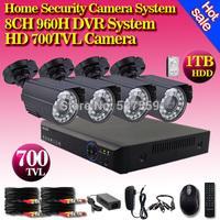 8 Channel IR Weatherproof Surveillance CCTV Camera Kit Home Security digital network DVR video Recorder System, free shipping