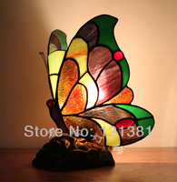 Antique Tiffany Style Accent Lamp Butterfly Lamp Small Table Lamps Bedding Light Stained Glass lampshades Handmade Wonderful